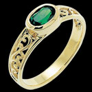 C1084 Oval Emerald filagree yellow Gold Ring