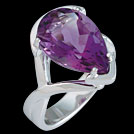 C1707 Claw Set Pear Amethyst White Gold Ring