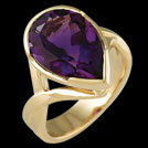 C1707R Bezel Set Pear Amethyst Yellow Gold Ring