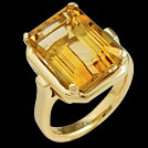 C1763 Octagon Citrine Yellow Gold Ring