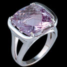 C1710 Antique Square Cushion Pink Amethyst White Gold Ring