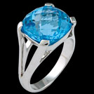 C1749 Antique Square Cushion Blue Topaz White Gold Ring