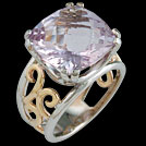 C1784 Antique Square Cushion Pink Amethyst Two Tone Gold Ring