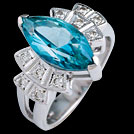 C1788 Marquise Teal Topaz and Diamond Deco White Gold Ring