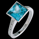 C1795 Square Teal Topaz and Diamond White Gold Ring