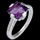 C1792 Claw Set Square Amethyst and Diamond White Gold Ring
