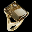 C1754 Octagon Smokey Quartz Claw Set Yellow Gold Cocktail Ring