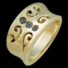 C1644 Iolite Trio and Diamond Pierced Yellow Gold Ring