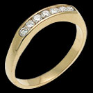 A44C Curved Yellow Gold Diamond Wedding Band