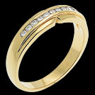 A891 Notched Yellow Gold and Diamond Wedding Band