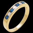 A326 Sapphire and Diamond Yellow Gold Wedding Band