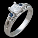 C1740P Sapphire Trinity White Gold and Diamond Engagement Ring